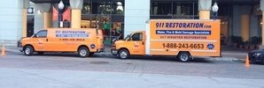 Water Damage Restoration Fleet At Civic Job Site